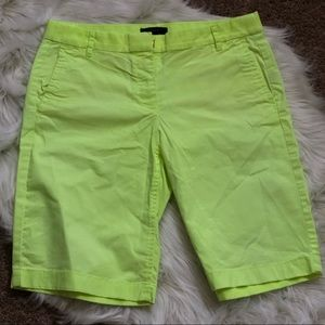 Neon yellow Bermuda shorts